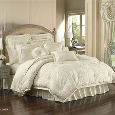 J Queen New York Olympia King Comforter Set by J Queen New York Bedding : The Home Decorating Company Damask Bedding, Luxury Bedding, White Bedding, Queen Comforter Sets, Bedding Sets, Home Bedroom, Bedroom Decor, Master Bedrooms, Bedroom Ideas