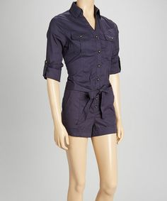 Another great find on #zulily! Navy Chambray Button-Up Romper by Intro #zulilyfinds