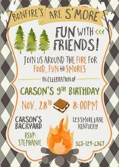 boy camping smores birthday invite bonfire boy birthday winter birthday invite jpg front and back design - Bonfire Party Invitations
