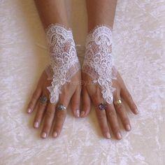 Wedding Gloves Wedding Bridal Gloves Fingerless by GlovesByJana Finger, Wedding Gloves, Lace Gloves, Ivory Wedding, Lace Weddings, French Lace, Handmade Wedding, Bridal Lace, Bridal Accessories