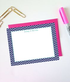 Chevron Monogram Note Cards (Navy-Aqua)
