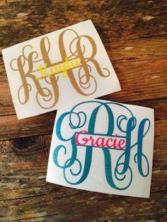 Split Glitter Monogram Name Vinyl Decal Choose Your Colors Yeti Laptop Car Phone