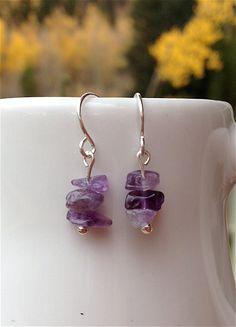 Amethyst Chip Gemstone Earrings by ALittleBitPrettyShop on Etsy, $14.00