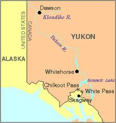 Map showing the Klondike River in the Yukon territory in northwest Canada