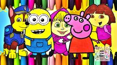 Paw Patrol, Minions, Peppa Pig and Dora Coloring Page - All Cartoons Tog...