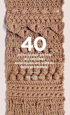 40 principaux points au crochet expliqués en vidéos et diagrammes - HOOKLOOK. Méli-mélo d'idées en laine et au crochet.