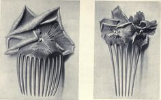 """Two Lalique horn and silver combs. This is a plate from """"Modern Design in Jewellery and Fans"""" by Charles Holme."""