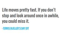 Life moves pretty fast. If you don't stop and look around once in awhile, you could miss it. — FERRIS BUELLER'S DAY OFF