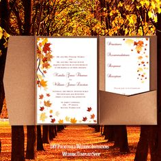 Fall Wedding Invitation Templates Diy Printable Pocketfold Set You Edit Print