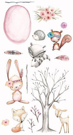 Waldkindergarten Clipart Planer Clipart Aquarell handgemalt Blumen Federn Baum F. Woodland Animal Nursery, Woodland Animals, Forest Nursery, Woodland Flowers, Forest Animals, Tree Drawing For Kids, Art For Kids, Doodles, Feather Tree