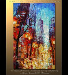 36 ORIGINAL City Lights Oil Painting Signed Modern by Nizamas.
