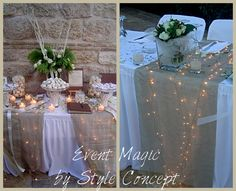 The hidden #lights under the runner give a romantic sparkle at the #wedding #decoration. We just love the effect!