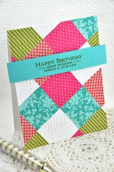 hand crafted quilt card ... twinchie squares from scrap papers in coordinating colors ... cheerful ... block quilt ...