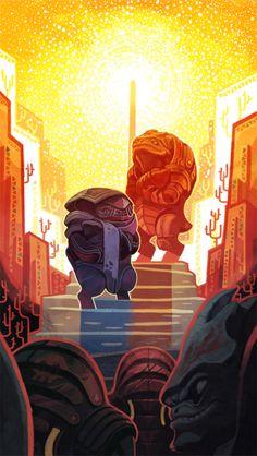 2gold-Mass Effect + Tarot card concept collaboration The Sun : Wrex + Bakara