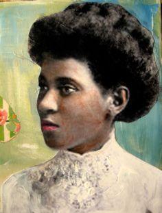 Belle Marie African American woman portrait by MaudstarrArt. , via Etsy.