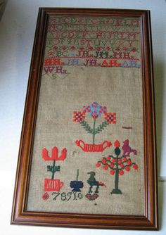 Lovely Old Antique Victorian Sampler