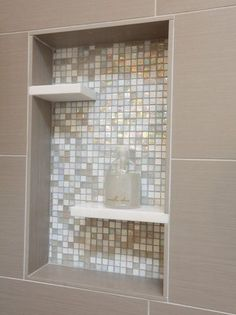 Shower Niche Glass Mosaic Tile Pure White Caeserstone Shelves Inserts Taupe Porcelain Tile Off Set Shelves Allow Space For Very Tall Items