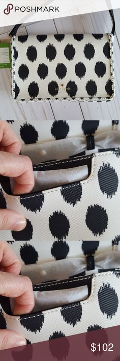 NWT Kate Spade Harding Street Ikat black Dot Renee NWT Kate Spade Harding Street Ikat black Dot Renee Mini Crossbody Bag Clutch - White   Details:  Pretty and petite, this kate spade new york crossbody keeps daily essentials within easy reach in sturdy coated faux leather with a custom-fit strap  Brand:   Kate Spade New York  Condition: New with tags  Style Type: Shoulder, Cross Body Bag or clutch  Material:  Textured coated faux leather; trim: leather  Interior:  2 interior card slots…