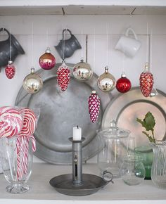 Red & White Christmas #vintage glass ornaments