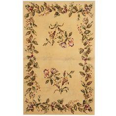 Herat Oriental Indo Hand-tufted Tibetan Ivory/ Green Wool & Rug