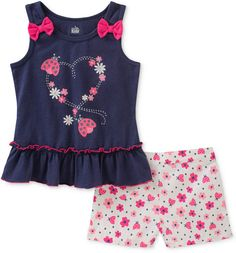 Take a look at this Navy Bow Appliqué Heart Tank & Pink Floral Shorts Set - Toddler today! Toddler Girl Outfits, Kids Outfits, Toddler Girls, Baby Outfits, Infant Toddler, Pink Ladybug, Kids Headquarters, Teddy Bear Clothes, Bow