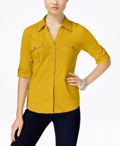 Style & Co. Petite Jersey Utility Shirt, Only at Macy's