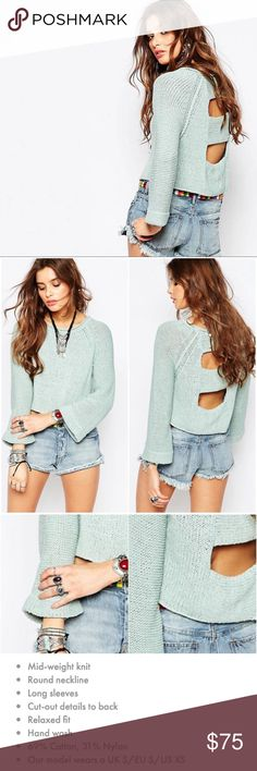 'Endless Stories' Cutout Back Knit Sweater Cute and breathable sweater in a baby light blue with ladder cutouts in back. Two sizes available, new with tags!  ♥️All measurements taken lying flat♥️ 😁Don't be afraid to ask questions😁 ❤️No trading please, but I love offers! ❤️ Free People Sweaters