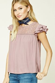 Forever 21 Contemporary - A woven top featuring a crochet yoke, a front ladder cutout detail, a buttoned keyhole back, short layered flounce sleeves, and a shirred design.