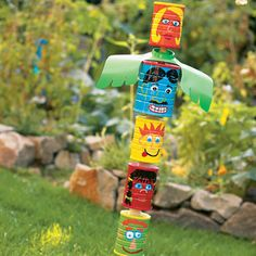 Tin Can Totem Poles - let your child be creative or make it a party craft with each child painting a can