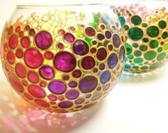 Set of 2 Candle Holders - Rainbow Bubbles Hand  Painted Vase - Glass Sphere Vase - Tea light holder, Mother's Day Gift, Wedding Favors