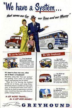 Vintage Greyhound bus ad. From the days of gloves, hankies and hats.