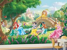 Add a touch of Disney magic to any room with this Disney palace pets inspired wall mural from Komar. Komar murals are in stock at Go Wallpaper UK Fairy Wallpaper, Vintage Flowers Wallpaper, Star Wallpaper, Embossed Wallpaper, Wall Wallpaper, Princess Palace Pets, Geometric Wallpaper Murals, Wallpaper Designs, Disney Princesses And Princes