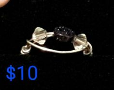 Flat round blue Goldstone bead and clear Swarovski crystal silver wire wrapped ring.