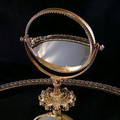 Hollywood Regency Vanity Mirror Magnifying Mirror Art Nouveau Vanity Mirror Filigree Mirror Dresser Makeup Mirrors Standing Mirror by OldGLoriEstateSale on Etsy