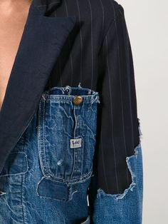 Shop Greg Lauren patchwork distressed denim blazer in The Parliament from the world\'s best independent boutiques at farf Denim Blazer, Denim On Denim, Distressed Denim, Denim Suit, Street Style Outfits, Look Street Style, Mode Outfits, Fashion Details, Look Fashion