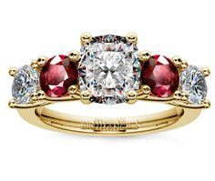 Cushion Trellis Ruby and Diamond Gemstone Engagement Ring in Yellow Gold  http://www.brilliance.com/engagement-rings/trellis-ruby-diamond-gemstone-ring-yellow-gold