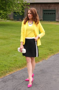 yellow top & white & black color block skirt & pink pumps or heels //  | Penny Pincher Fashion
