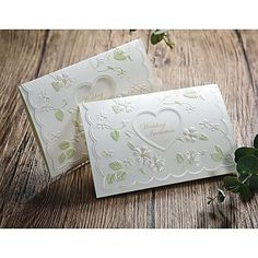 """""""Spring Idea"""" Embossed Wedding Invitation With Heart Cutout (Set of 50) – GBP £ 39.61"""