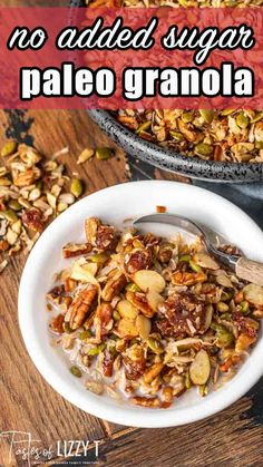 Here's a nutty, crunchy, paleo granola recipe baked in coconut oil and sweetened with dates. Serve this sugar-free recipe as a snack or for breakfast as cereal.  One thing I always crave when warm weather hits is granola.  This might seem strange since granola seems like a fall snack.  Don't worry…I crave it in the fall, too. Whole 30 Recipes, Real Food Recipes, Baking Recipes, Healthy Recipes, Paleo Granola Recipe, Fall Snacks, Sugar Free Recipes, Clean Eating Recipes, Grain Free