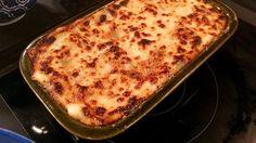 Lasagne på svamp, bacon och spenat.