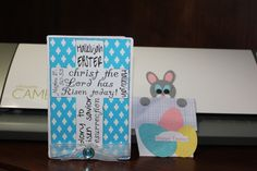 """More of my 2014 Easter cards. The Bunny in the pot card was an idea I got from by the """"Daffyscrapper""""."""