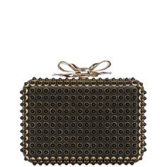 CHRISTIAN LOUBOUTIN Fiocco Box Cabo Calfskin Clutch - Black/Gold ($1,875) ❤ liked on Polyvore featuring bags, handbags, clutches, bow handbag, black chain purse, black clutches, gold purse and gold handbag