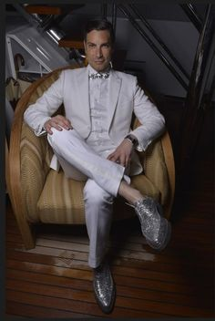 Cameron Silver in a white tuxedo in Cannes
