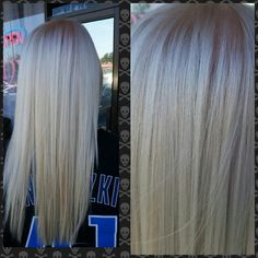 Icy blonde with pravana express toner pearl and violet. Super blonde olaplex treatment as well :) salon envy Icy Blonde, Cool Blonde, Beauty Makeup, Hair Makeup, Hair Beauty, Eye Makeup, Pravana Hair Color, Bleaching Your Hair, Hair Color Techniques
