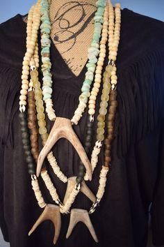 Boho Necklace, African Necklace,Deer Antler Necklace, Forked Antler Necklace, Horn Necklace,Tusk Necklace,Bone Beads Necklace, Spring Trends by NatnatCreations on Etsy