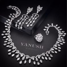 Yanush Gioielli Diamond Necklacde, Earring and Ring Set