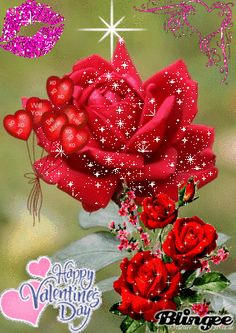 Red rose glitter Blingee Cards