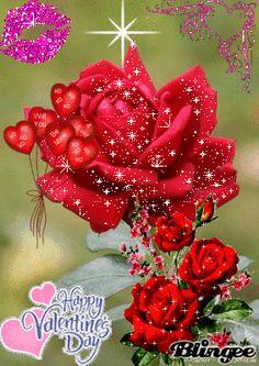 Red rose glitter Blingee Cards