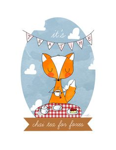 Chai tea for foxes illustration print A4 by LaurynGreen on Etsy, $8.00
