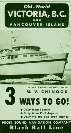 Black Ball brochure from 1948 for the new Chinook II ferry